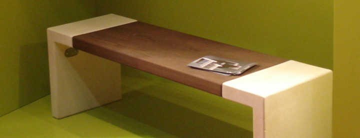 Bench in wood and stone, presented at the  Salon du Meuble 2008